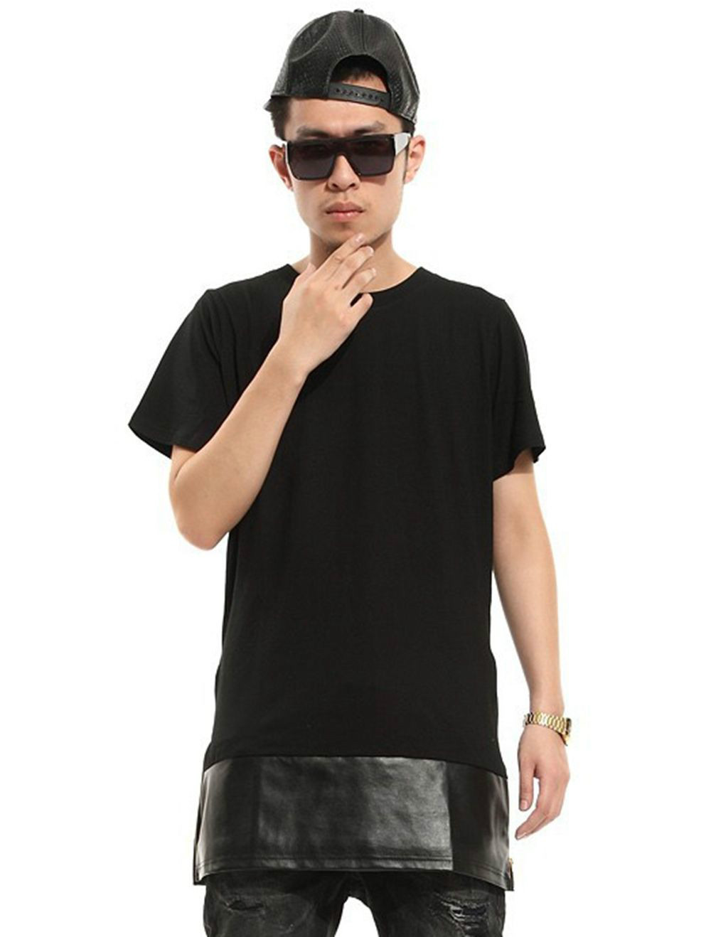 mens t shirts fashion 2015 gold blaze zipper lengthen