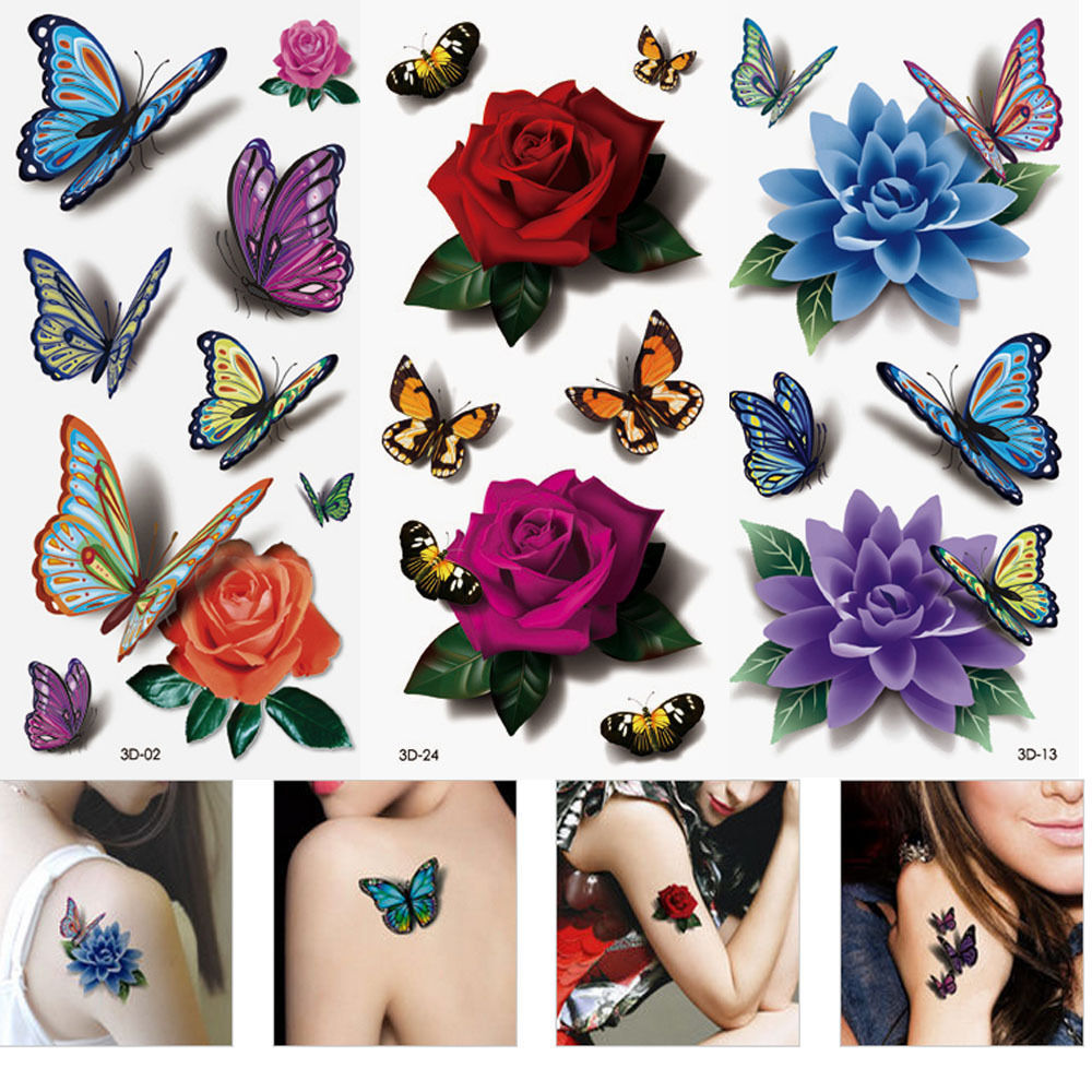 Buy 3 sheets women 39 s 3d colorful for Temporary tattoo sticker