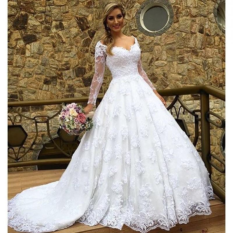 Новый Casamento бразилия розничная Vestido Noiva Cap рукав длинный рукав халат де Mariage элегантный кружева свадебное платье 2016