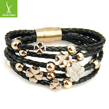 Leather Wrap Woven Crystal Charm 18k Gold Plated Bracelet Black for Men Fashion Unisex Jewelry PI0697