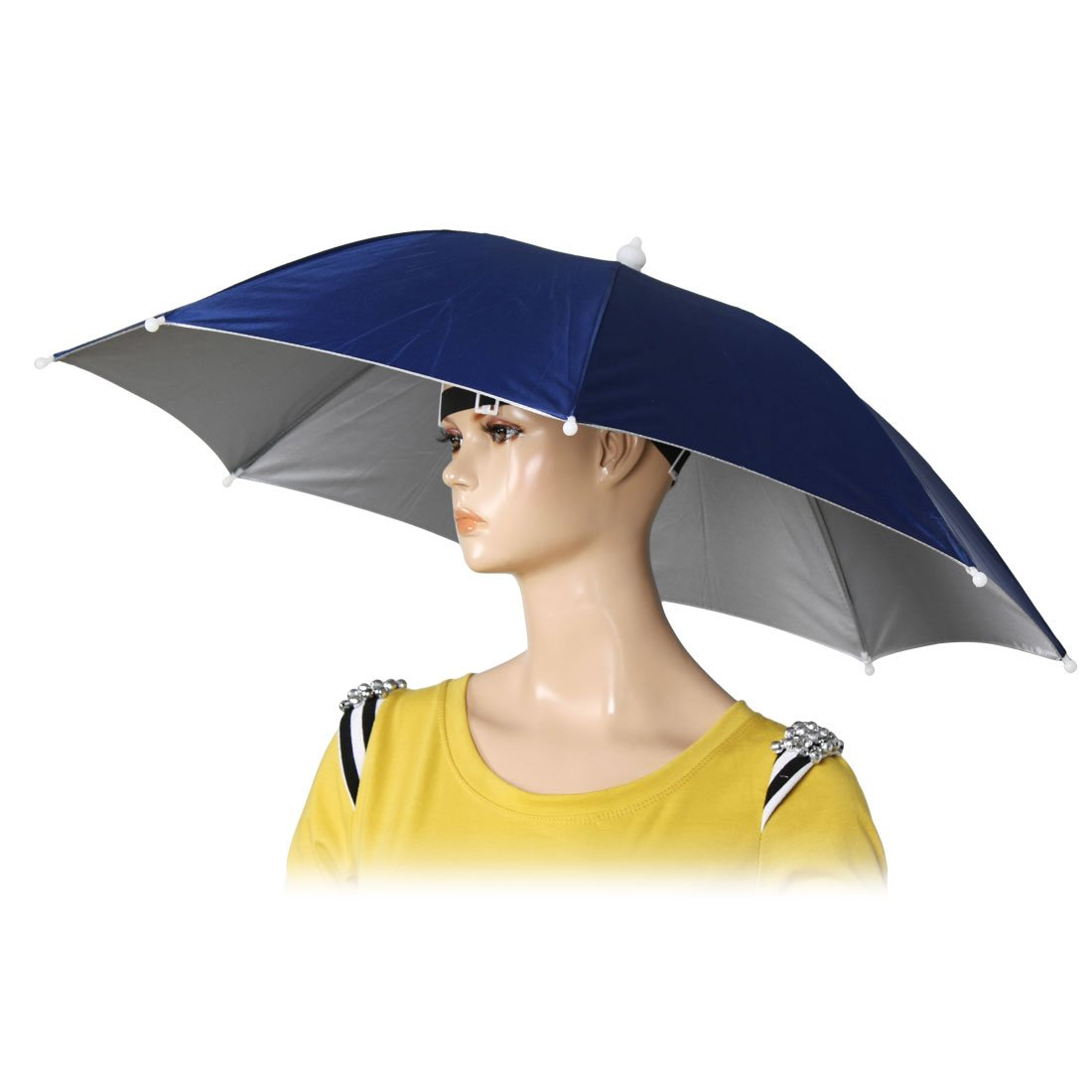 "Super sell 26"" Diameter Elastic Band Fishing Headwear Umbrella Hat Dark Blue"
