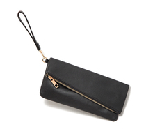 AE045 Modern Fashion solid zipper foldable pu Women lady girl multifunctional day clutch coin purse mobile phone wristlet strap