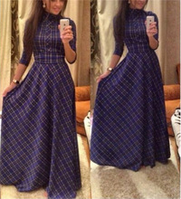 2016 winter fall maxi long dress designer womens vintage classic font b plaid b font floor