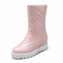 Mujeres de la manera de Rejilla de Peluche Ocultos Cuñas de Nieve Botas de Invierno Cálido Botas de Nieve Zapatos de Mujer 2015 de la Marca de Plataforma de Tacón Alto botas(China (Mainland))