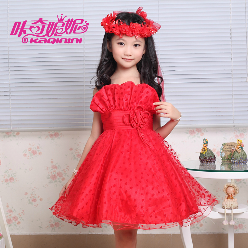 girls dresses summer 2016 New Lace Layered Flower Girls Dress For Weddings Fashion Sleeveless Voile Princess Tutu Evening Gowns(China (Mainland))