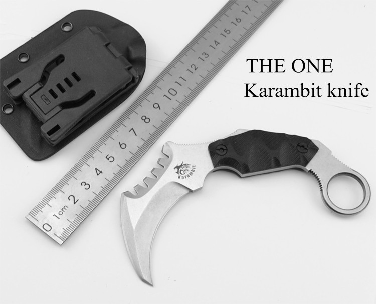 Buy Karambit Knife THE ONE HS Fixed AUS-8 Blade Knife Survival Knives Hunting Tactical Knifes G10 Handle Camping Outdoor Tools C cheap