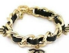 wholesale lot New Jewelry Gold Filled Letter Design Braided Leather Cord Enamel C Bracelet B2059(China (Mainland))