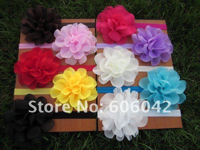 "Baby Elastic Headbands Soft Stetch Headband with  4.5""Chiffon Silk Flowers 50pcs/lot Free Shipping"