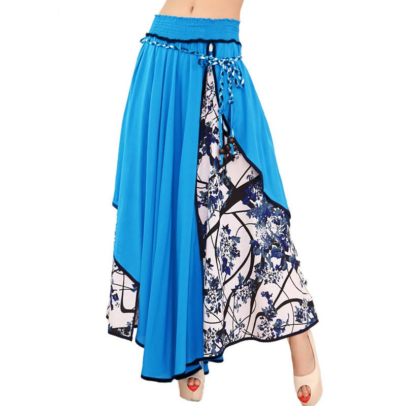 New 2015 Summer Women Fashion Bohemian floral Patchwork Skirts long skirt Casual Bow skirt Pleated Big hem faldas saia feminina