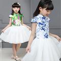 2016 New Chinese Style Baby Girls Princess Tutu Dress Kids Floral Costume Girls Knee Length Cotton