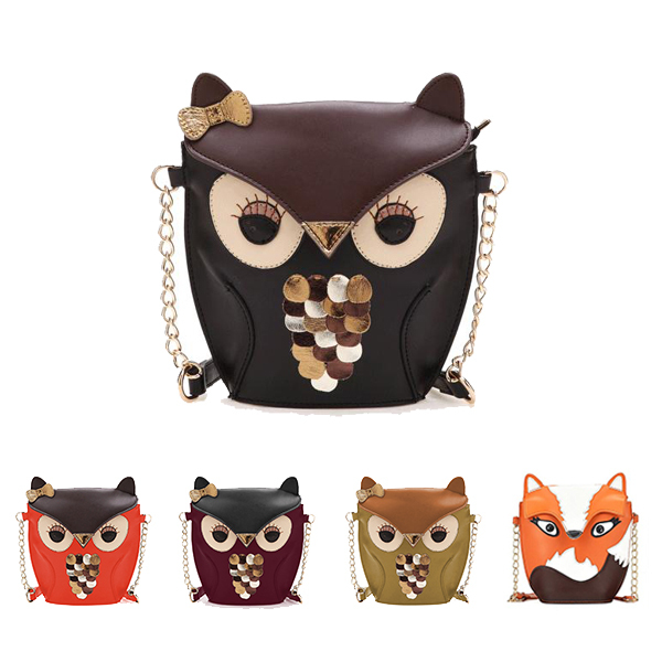 2015 New arrival Cartoon Bag Owl Shoulder Bags Leisure Women Leather Handbag Fox wallets Women Messenger Bag casual bag(China (Mainland))