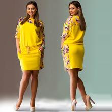 L-6xl mini Elegant dress casual o-neck office bodycon Dress fashion Print women dresses big sizes NEW plus size women clothing