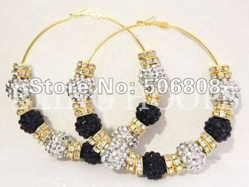Silver Rhinestone Resin Balls With Golden Crystal Spacers Basketball Wives Earrings, Paparazzi Jewelry Earrings 5PAIRS/LOT