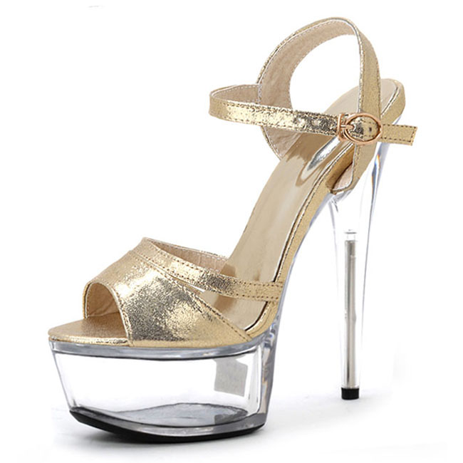 Фотография Han edition of high-grade gold flash dress shoes 15 cm high heels Europe and the United States show runway show