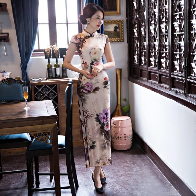 มาใหม่สตรีผ้าไหมยาวCheongsamจีนแฟชั่นสไตล์การแต่งกายที่สวยงามบางQipaoรสเสื้อผ้าขนาดSml XL XXL F072641 ถูก