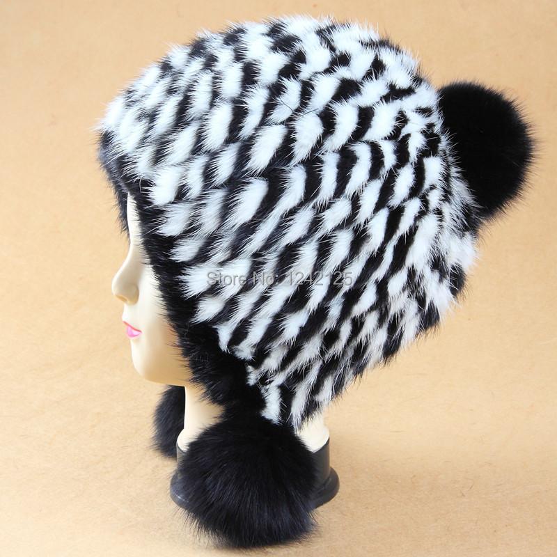 Скидки на Новый Осень зима родитель-ребенок ветрозащитный теплый симпатичные роскошный натуральный мех Норки Большой девушка женский мех вязание шляпа тепловой уха сгущает