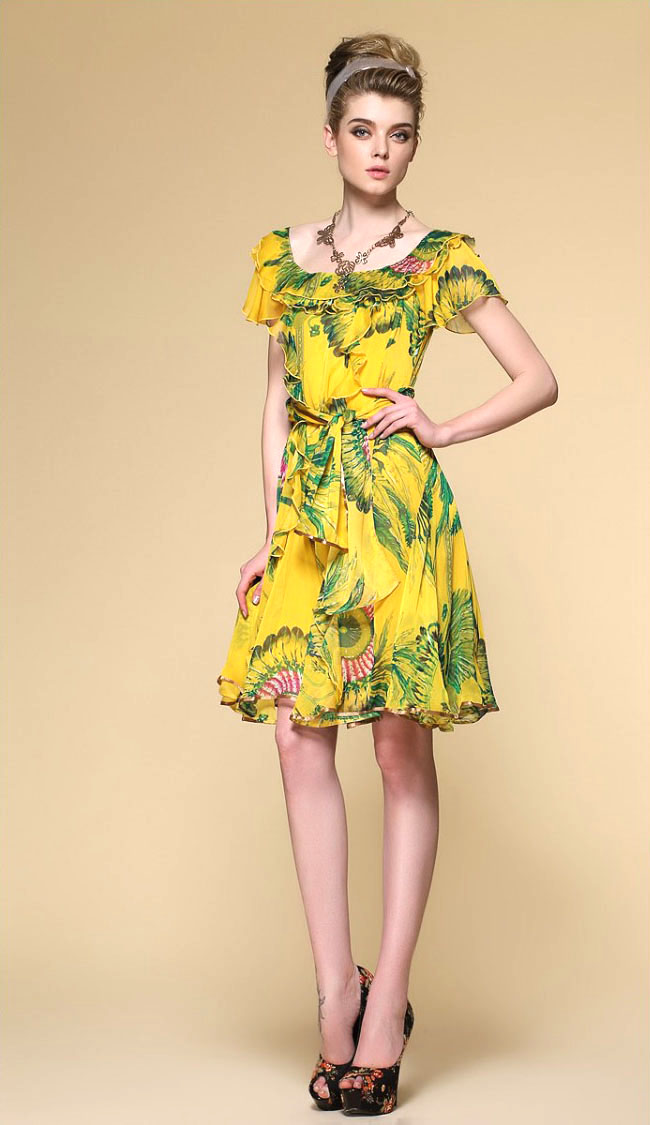 Buy Print Silk Chiffon Dress Silk Chiffon Fabric Peacock Pattern Fashion Style
