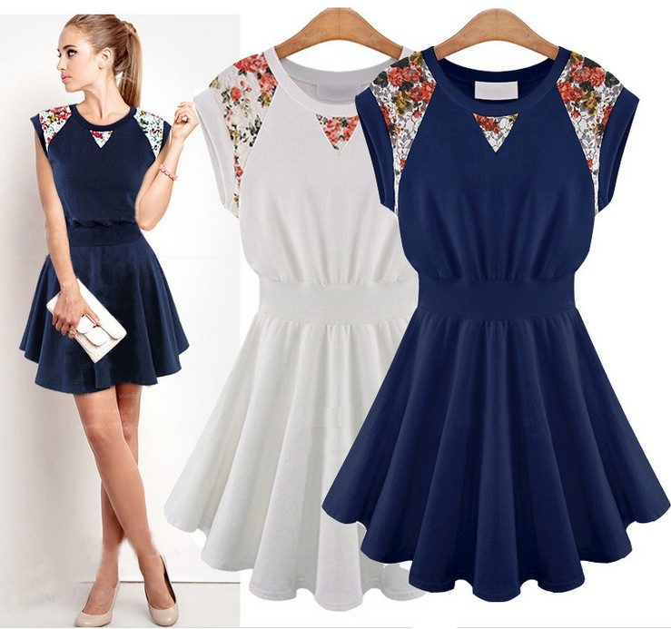 Beige,Navy Blue Plus Size:S-XL Free Shipping Guaranteed 100% 2015 New Korea Fashion Women's Cotton Print Casual Summer Dresses(China (Mainland))