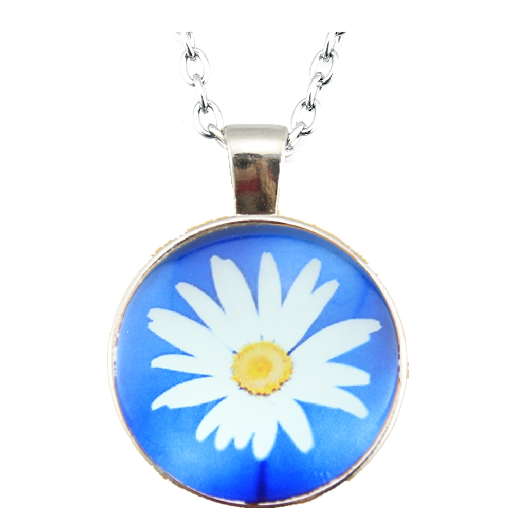 Fashion Jewelry Chrysanthemum Glass Cabochon Pendants Handmade Necklaces Bronze or rhodium Plated 70cm Long Chain Necklaces(China (Mainland))