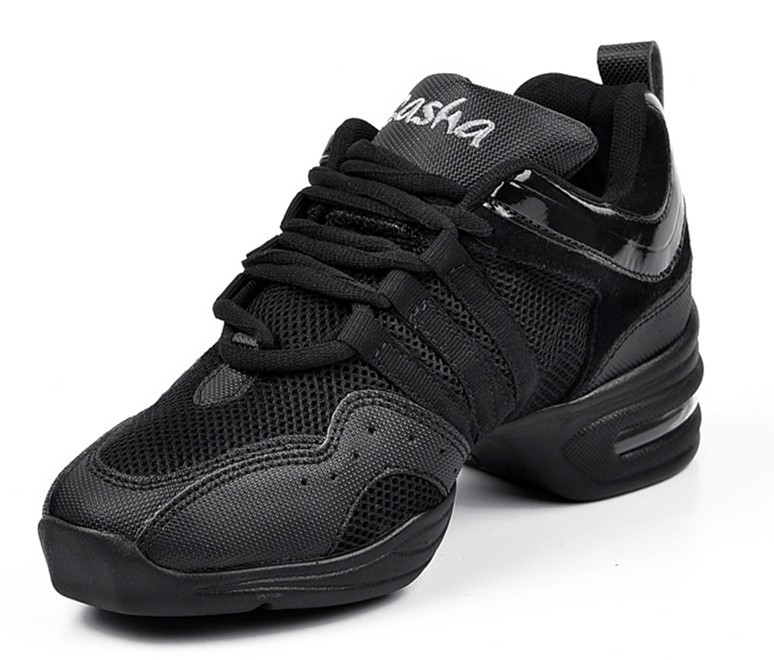 new arrival in store Brand New Unisex sport Modern Jazz Hip Hop Dance Sneakers Shoes Pigskin black color free shipping B203A(China (Mainland))