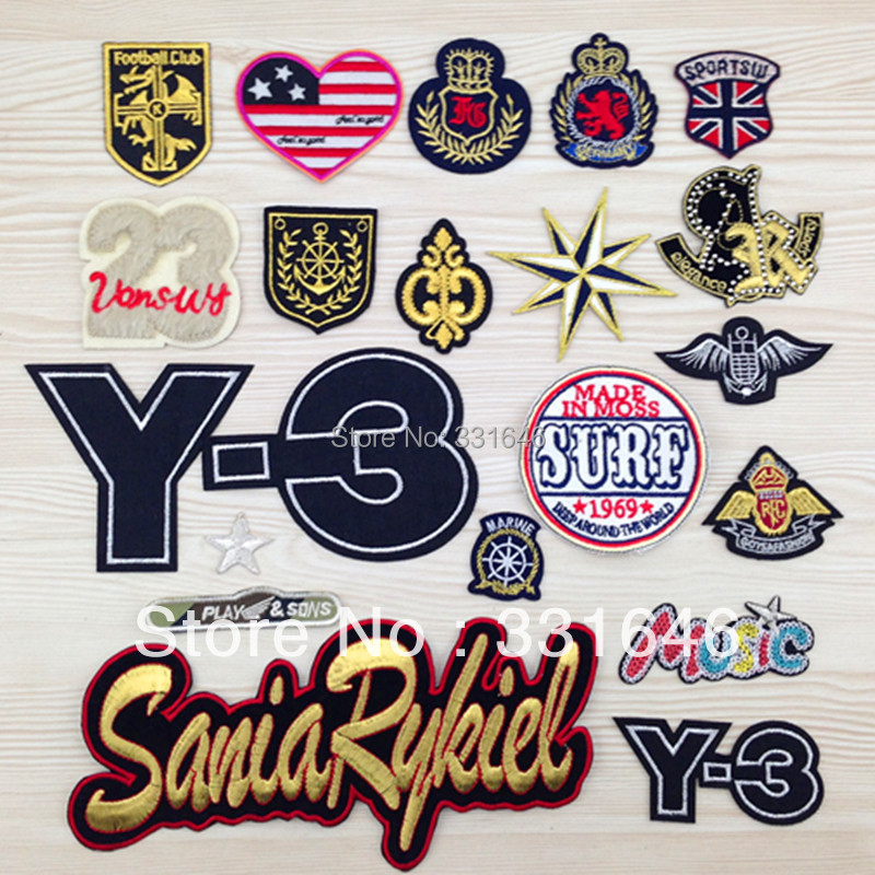 20designs Embroidery fabric badge mark shirt badge clothes patch shirt decoration stickers Iron-on/Sew-on patch free shipping(China (Mainland))