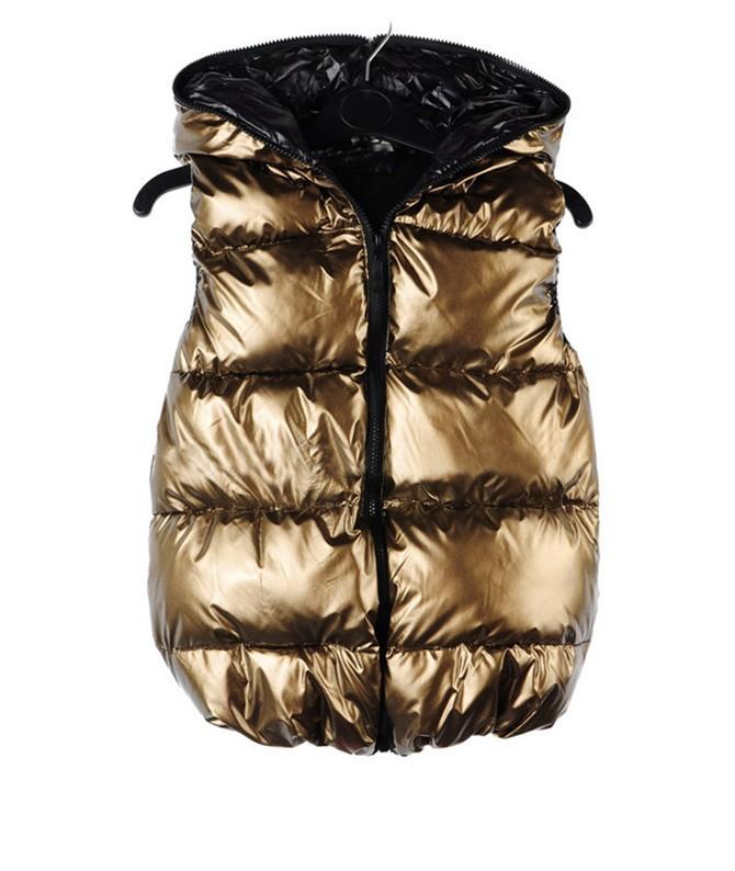 Мода новая зимняя Colete Feminino жилет женщин корейский водонепроницаемый тонкий золотой вниз хлопок толстые жилеты жилет WWV057