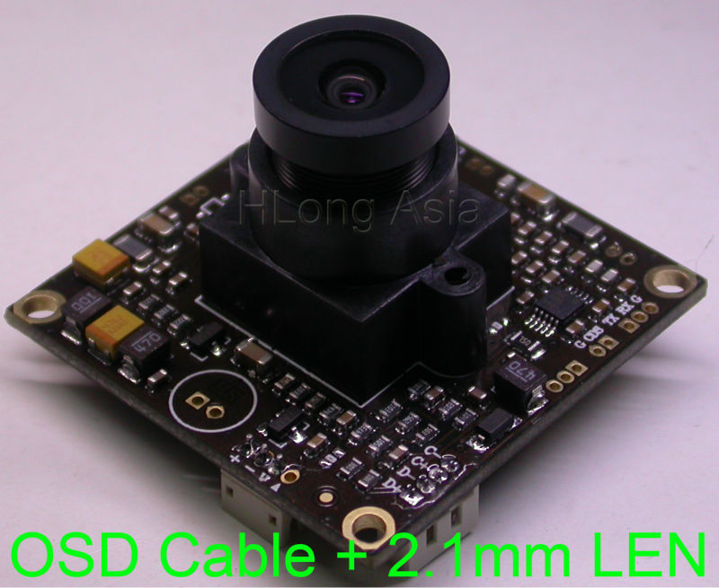 "2.1mm wide angle LEN WDR EFFIO-V 1/3"" Sony CCD sensor ICX662/663 CXD4141 chipset 800TVL CCTV camera module chip board OSD cable(China (Mainland))"