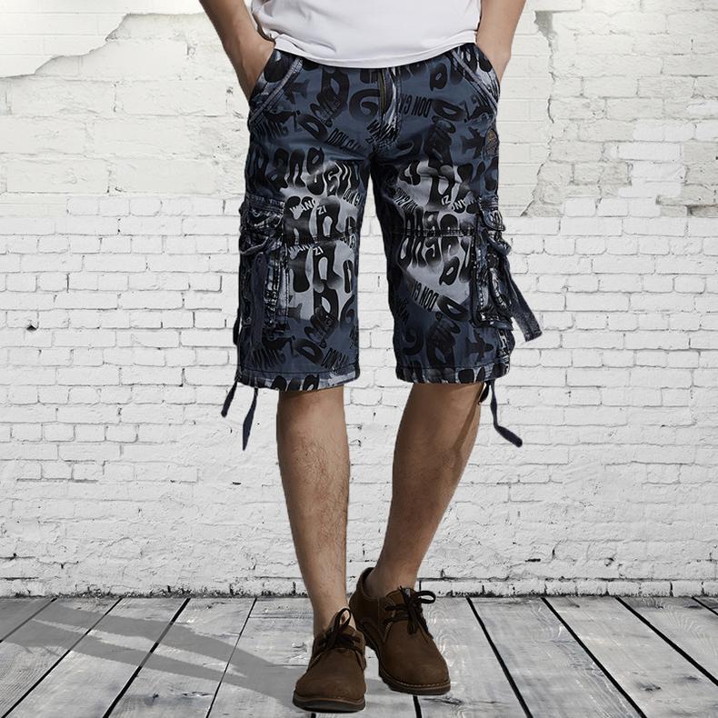 8d89acb561bb3 Compre Al Por Mayor Moda Cargo Shorts Mens Casual Camo Shorts Fino ...