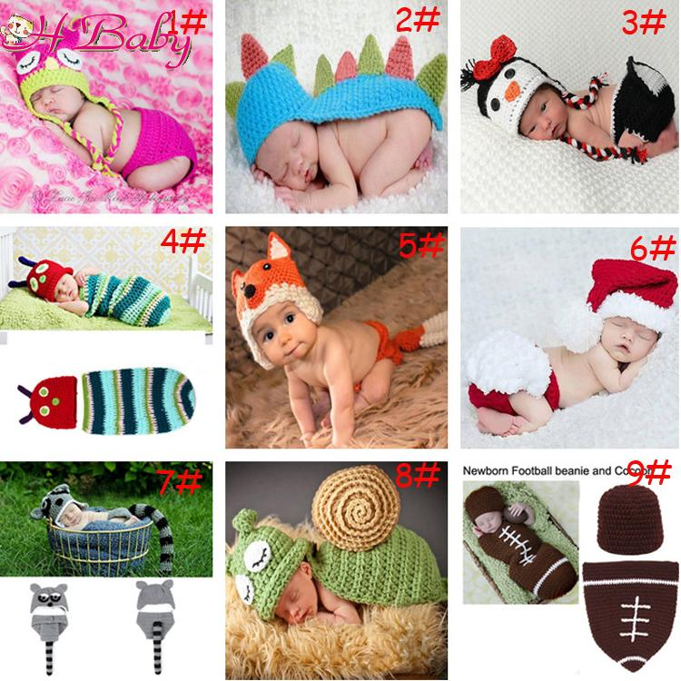 Supper Soft Crochet Baby Boy Girl Photography Props Knitted NEWBORN BEBE Animal Hat Caps Crochet Baby Outfits 1set MZS-14002(China (Mainland))