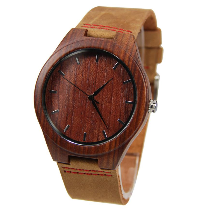 Creative 2016 New Faux Leather Bamboo Wooden Quartz Watches Fashion Luxury Mens Watch As Gift High Qulity Watch<br><br>Aliexpress