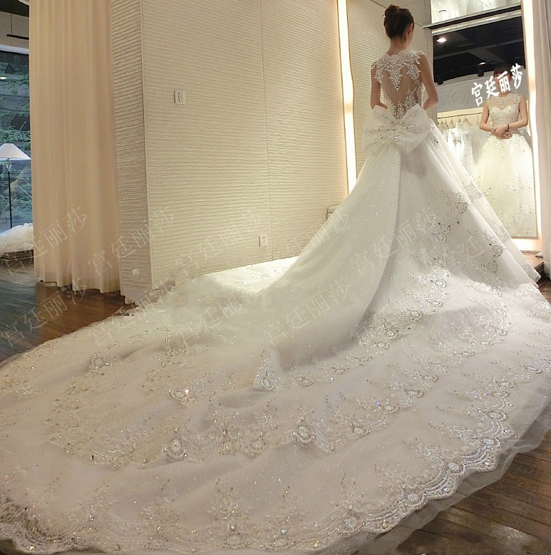 Ball Gown Wedding Dresses With Train : Long train wedding dresses luxury lace ball gown dress