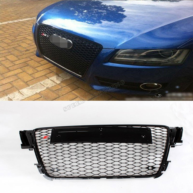 08-012 High quality ABS Front Car Grille for AUDI A4 B8 RS4 Grill Black with Parking Sensor (Fits 08-12 A4 S4 RS4 B8 8K Avant)