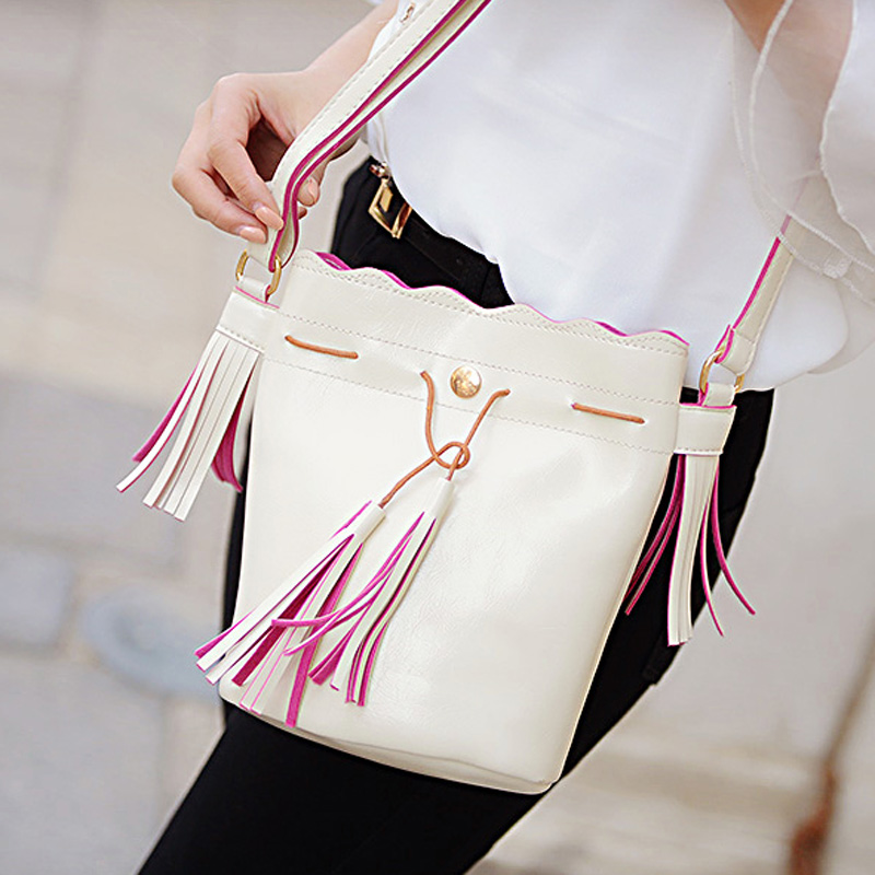 2015 spring summer fashion vintage tassel drawstring fresh women's handbag small bags bucket bag shoulder messenger - Online Store 331468 store