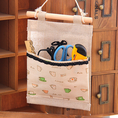 2015 Wall Fabric Pouch Bag Wardrobe Bedside Linen Sundry Storage Bag Basket Canvas household hanger Door zakka box organizer(China (Mainland))