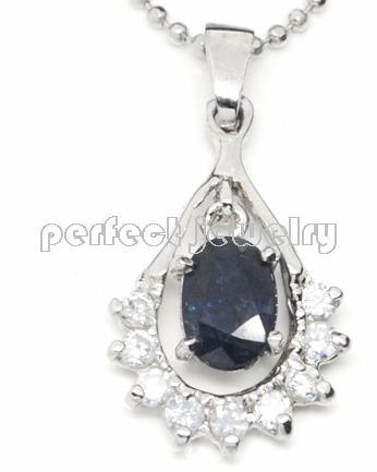 Sapphire necklace pedant Free shipping Natural sapphire with 925 silver pendant,flower with zircon inlaid,1pc/jewelry box,# 16(China (Mainland))
