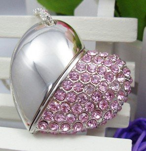 Crystal Diamond Heart Shape Jewelry USB Flash Drive Necklace 2GB/4GB/8GB/16GB/32GB/64GB - Digital Online Store store