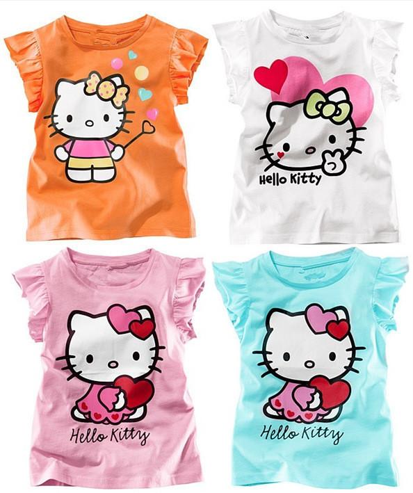 New 2015 hot Cute cartoon Kids Boys Girls T shirt Top Short Sleeve child s Clothing