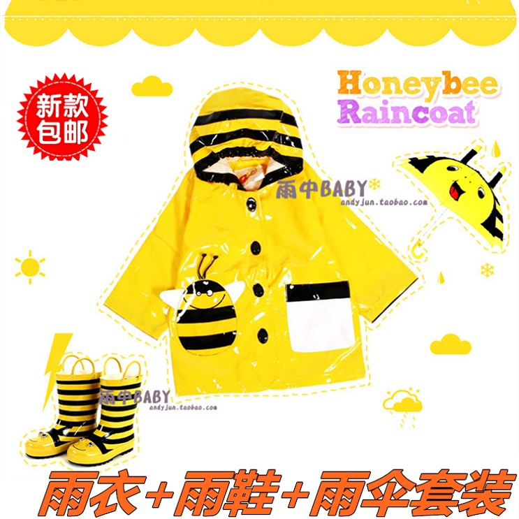For exports 2014 fashion children raincoat poncho set umbrella rain boots kids rain gear set free shipping 3 pieces sets(China (Mainland))