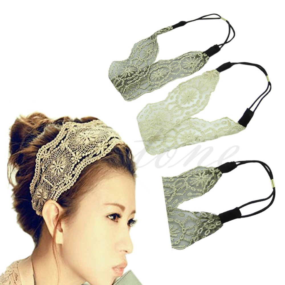 Y92 New Arrive Womens Girls Hair Accessories Lace Headband Retro Hair Band Wide Headwraps HOT(China (Mainland))