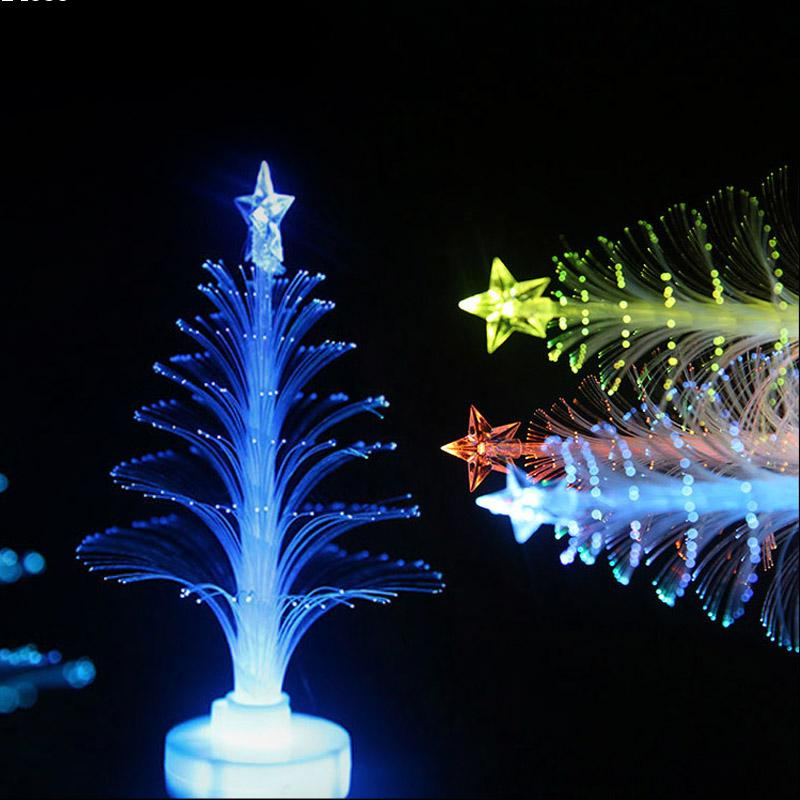 LED Fiber Optic Christmas Trees Colorful LED Fiber Night light Three-Dimensional Christmas Tree Can Be Pasted Small Gift L50(China (Mainland))