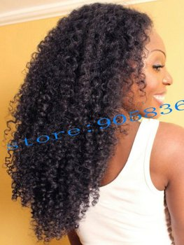 African american Black kinky curly remy hair lace wig