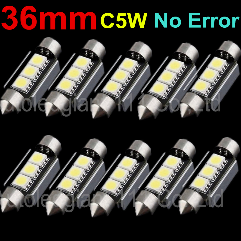 10pcs Cool White CANBUS Error Free 36mm C5W Festoon 3SMD DE3423 6418 12v Car Interior Bulb License Plate Light For Audi BMW Benz(China (Mainland))