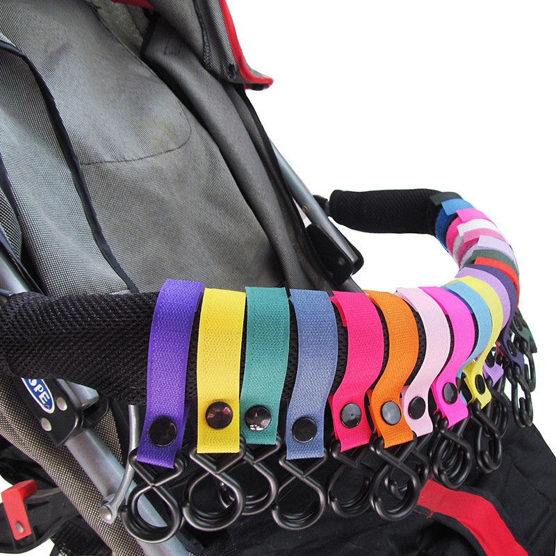 6 Pcs/lot 18-color Baby Stroller Hook Pushchair Hanger Hanging Hooks clips general strong 2 Hooks Strap stroller accessories(China (Mainland))