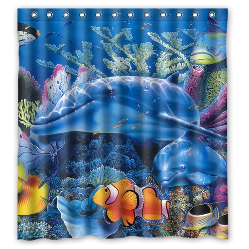 "Free Shipping Polyester Shower Curtain Waterproof Print Marine life Under the Sea Decorative Bathroom Screen 66"" x 72""(China (Mainland))"