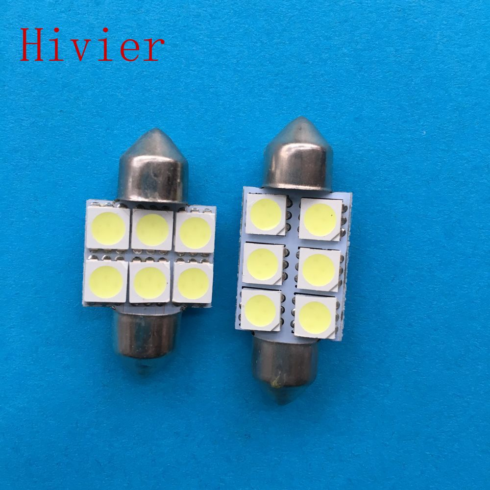 New 100Pcs 5050 6smd 6 smd White 31mm 36mm 39mm C5w DC 12V Interior Festoon Dome Car Light Lamp Bulb Led Car Wholesale(China (Mainland))
