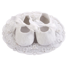 2016 New Ivory Baby Infant Shoes Girls Anti-slip Soft Sole Prewalker Christening Baptism Zapatillas Bebe Lace Shoes 4 pair/lot(China (Mainland))