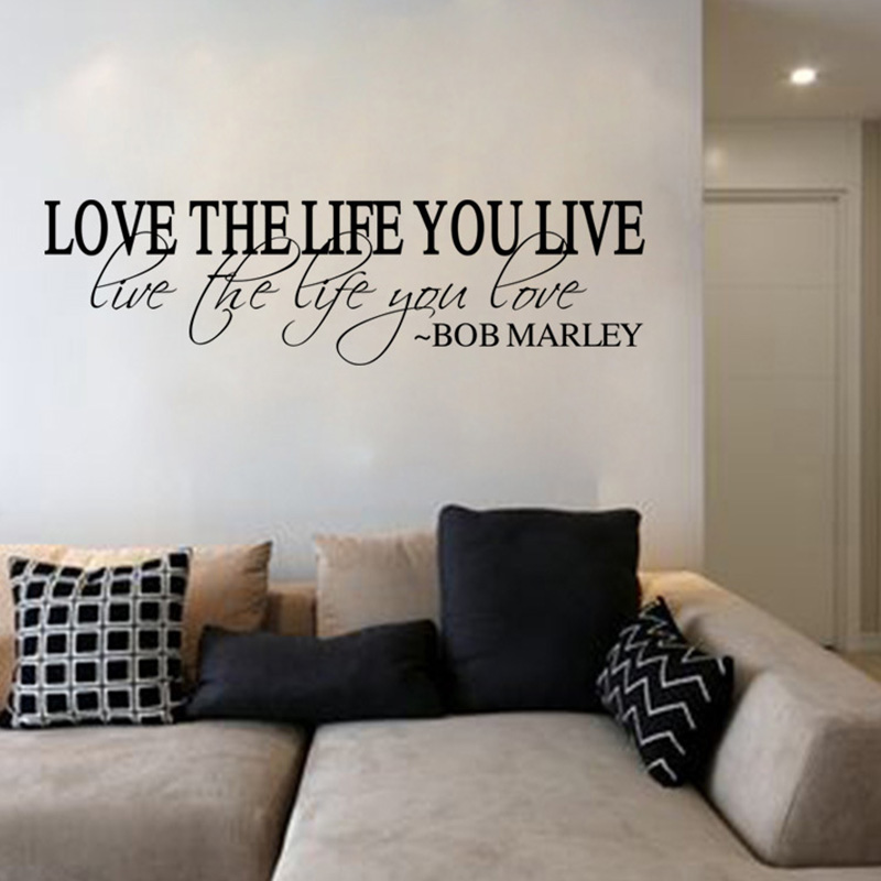 Word Wall Art Vinyl Lettering Home Decor ~ Wall stickers home decor english quote quot love the life