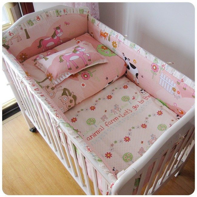 Promotion! 6PCS baby bedding sets toddler bed set,cot sheet,baby bumper (bumpers+sheet+pillow cover)<br><br>Aliexpress