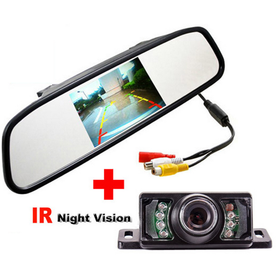 2 in 1 Auto Parking Camera Monitors System. 4.3 inch LCD Car Rear View Mirror Monitor With LED IR Night Vision Rearview Camera(China (Mainland))