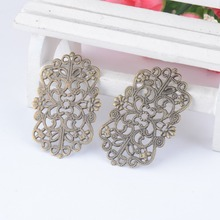 Free shipping Retail 10Pcs Bronze Tone Flowers Filigree Wraps Connectors Metal Crafts Decoration DIY Findings 50x31mm F0374(China (Mainland))